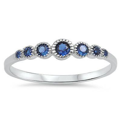 Women's Round Blue Sapphire CZ Cute Ring New 925 Sterling Silver Band Sizes 3-13