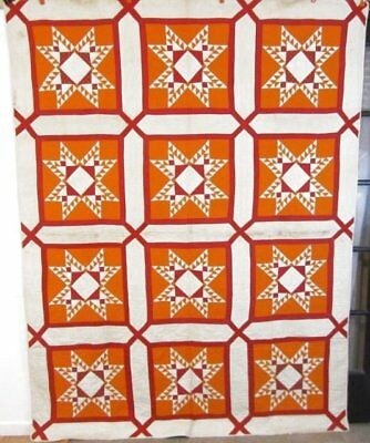 EARLY  Feather Star ANTIQUE Quilt c 1840-50 Turkey Red Cheddar