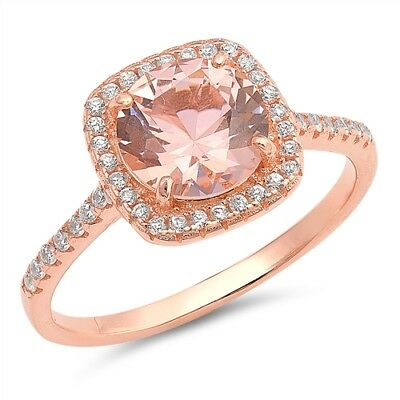 Rose Gold Tone Halo Ring Pink Morganite CZ .925 Sterling Silver Band Sizes 4-10