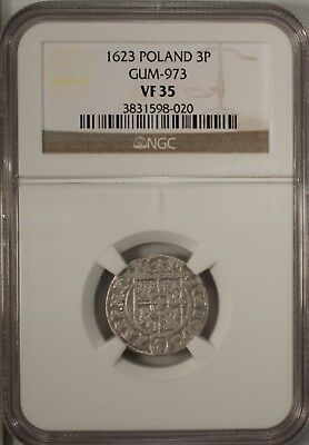 Poland  Silver 3 Polker 1623 NGC VF 35  Gum - 973 Medieval Coin Cracow Mint