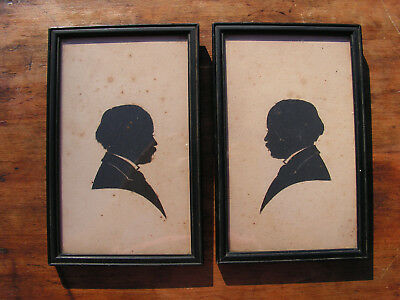Rare 19th Century African American Silhouette Antique Portraits