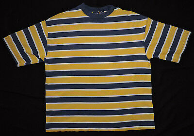 RARE Vintage 90s GAP Striped Blue Yellow Gold T-shirt USA Made Tommy Guess Polo