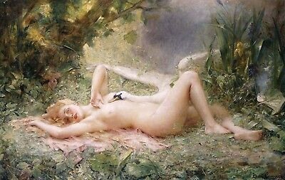 LEON FRANCOIS COMERRE The Triumph of the Swan BLONDE naked woman riverbank NEW