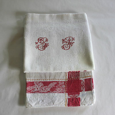Antique French Linen Monogrammed Napkins Lot with Flaws