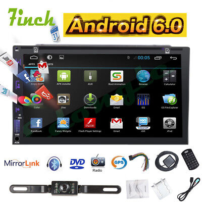 GPS Navigation 7'' 2Din Capacitive Android 6.0 Car Stereo DVD Player BT+Camera