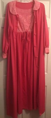 Vintage SHADOWLINE Pink Lingerie Neglige Gown Nightgown Robe Large