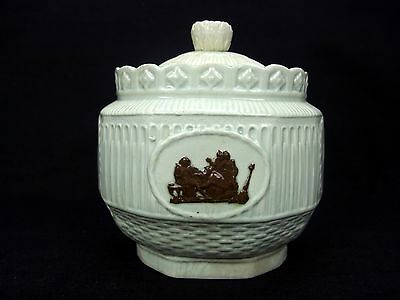 Antique Late 18th Century Leeds Pottery Light Paste Lidded Sugar Bowl Bacchus