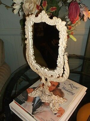 "Antique Victorian Style ""shabby Chic"" Cast Iron Vanity Tilt Mirror"