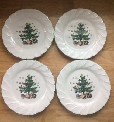 "Lot of 4 8"" Round Lunch Bread Plates NIKKO HAPPY HOLIDAYS Christmas Tree Pottery"