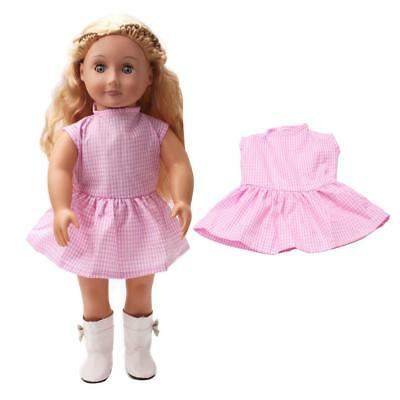 18inch Doll Clothes Cute Light Pink Plaid Dress for 18'' Our Generation Doll