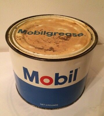 """Vintage Mobil Grease Can 5 lb. Size """"Mobilegrease"""" 3/4 Full Steel Can"""