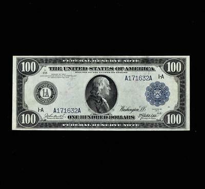 """Elusive 1914 $100 Federal Reserve """"boston"""" Near Almost Uncirculated"""