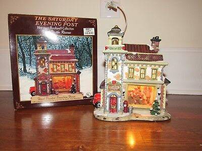 Norman Rockwell FIRE! TO THE RESCUE Porcelain Light House Saturday Evening Post