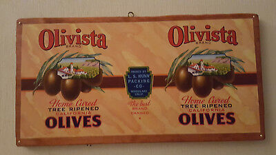 Vintage *Olivista Brand Olives * Tin Can Label Mounted on Stained Pine