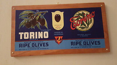 Vintage *Torino Brand Ripe Olives* Tin Can Label Mounted on Stained Pine
