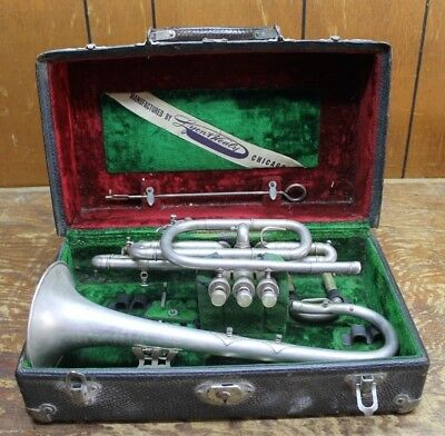 Vtg LYON & HEALY Trumpet Cornet & 2 mouth pc REPAIR RESTORE PARTS silver ORNATE