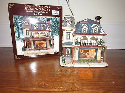 Rare Norman Rockwell Tea Time Hand Painted Porcelain Christmas House
