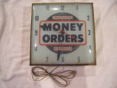 Travelers Money Orders Express 1950's PAM USA Advertising Clock Lighted Works