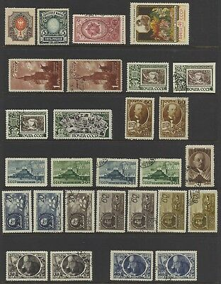 1910-50 Unstudied Russia Lot on 3 Pages - Mint / Used cond.