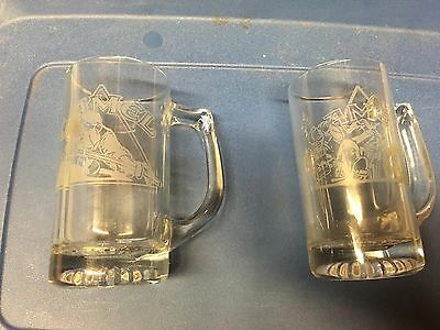 Joe Camel Cigarettes Pool Player & Motorcycle Rider Glass Beer Mugs, RJRTC, 1993