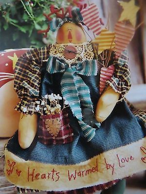 ** HEARTS WARMED by LOVE **  Cloth Doll  pattern..by Meme's Quilts