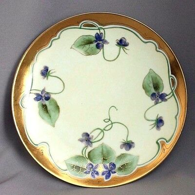 Antique Vtg Hand Painted HAVILAND Limoges PLATE Signed VIOLETS w/ GOLD Cabinet