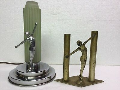 AC Rehberger Chicago Art Deco Nude Figural Lamp & Bud Vase Dancing Woman Beauty