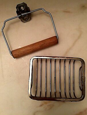 Vintage Sink Soap Dish Nickel Plated Brass & Steel Wire Toilet Paper Holder