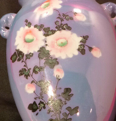 Vintage Made In Japan Lusterware WALL POCKET Daisy HAND PAINTED Irridescence