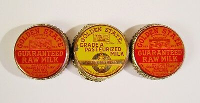 (3) ~GOLDEN STATE~ METAL  Raw & Pasturized Milk Bottle Caps from California L@@K