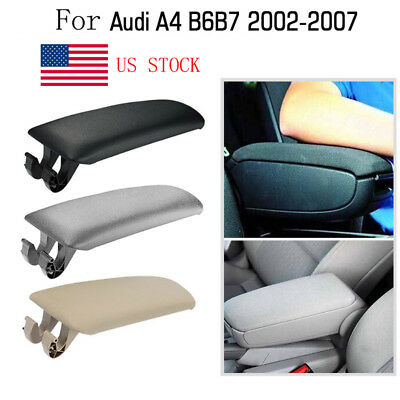 Car Armrest Console Lid Cover fit for Audi A4 B6 B7 Black Leather US Stock