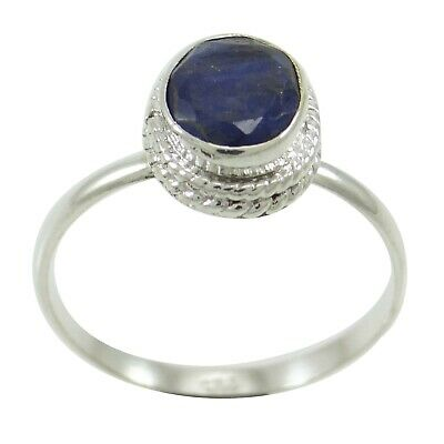 925 Mark Sterling Silver Indian Fashion Jewelry Sapphire Stone Ring For Women