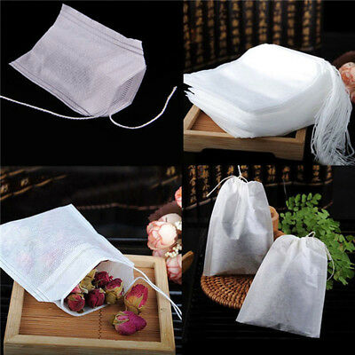 Eco-friendly 100pcs Empty Teabags String Heat Seal Filter Herb Loose Tea Bags