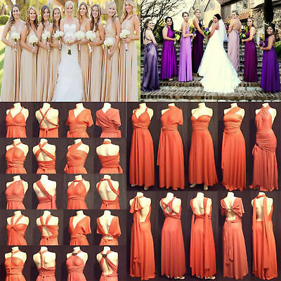 Long Bridesmaid Evening Jeresy Convertible Multi Way Wrap Twist Dress Prom Gown