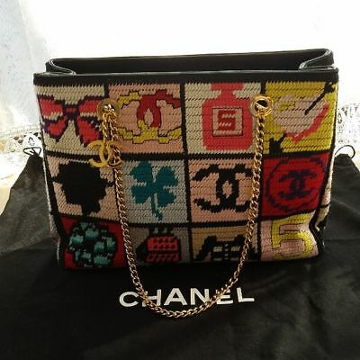 954ff3c6f51953 Vintage Super Rare CHANEL knit icon shoulder bag From JAPAN Free shipping