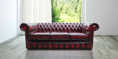 Chesterfield Antique 3 Seater Genuine Leather Handmade Sofa