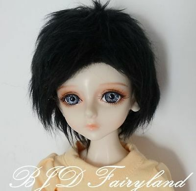 "7-8"" 7-8inch 18-19cm BJD doll wig black short wig for 1/4 SD Dollfie antiskid"