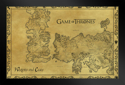 Game Of Thrones Antique Map Westeros TV Show Framed Poster