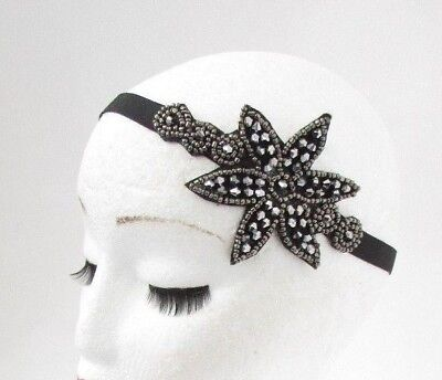 Dark Silver Grey Black Charcoal Beaded 1920s Flapper Great Gatsby Headband 5085