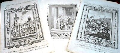 3 x Historical Events ( Battle of Crecy etc) Copperplate Engravings - c1785