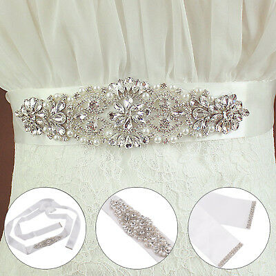 Vintage Crystal Rhinestones Bridal Wedding Accessories Dress Sash Belt Ribbon
