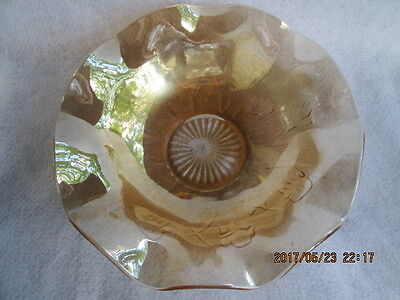 "IRIS & HERRINGBONE IRIDESCENT RUFFLED BOWL 11.5"" Marigold Depression Glass Vtg."