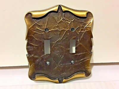 Vntg. Amerock Brass Double Light Switch Plate Carriage House Antique English