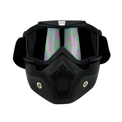 Black Riding Detachable Modular Face Mask Shield Goggles for Motorcycle Helmet