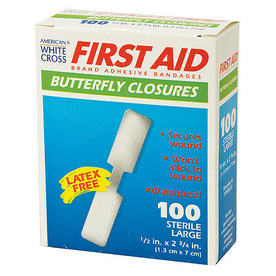 100 Brand New Large Butterfly Wound Closures Bandages Strips Box Of 100