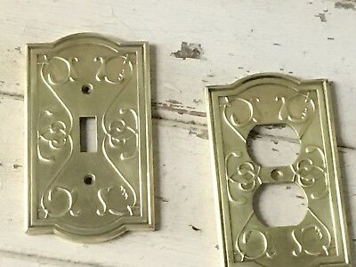 Vntg. Brass Switch Plates, Single Toggle Light & Outlet Covers Metal Gold Heavy