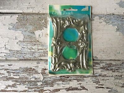 Vintage Light Touch, Double Toggle Switch Plate, Edmar, Ornate Metal, NOS