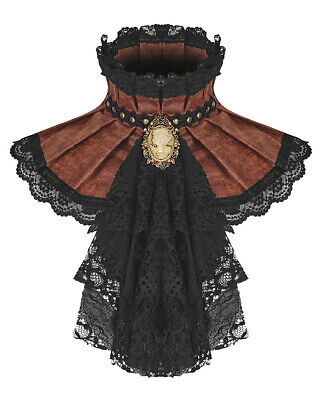 PUNK RAVE DONNA STEAMPUNK JABOT colletto Foulard Cravatta marrone pizzo gotico