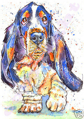 BASSET HOUND PRINT of Original Watercolour Watercolor DOG Painting by JOSIE P
