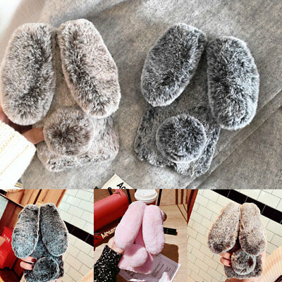 Lovely Rabbit Faux Furry Fur Shockproof TPU Case Cover For iPhone Samsung Galaxy